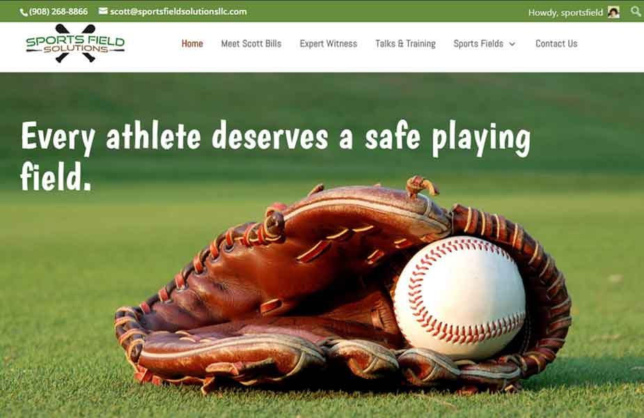 Photo of website home page for Sports Field Solutions, another HBS client; HBS offers website content update services.